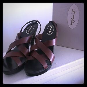 SJP Collection Brown leather sandals 9.5